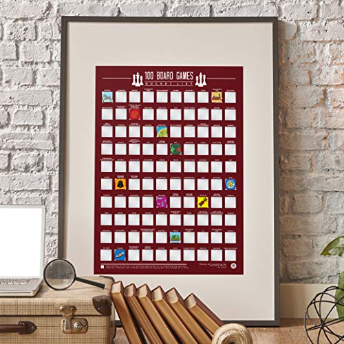 Gift Republic 100 Board Games Bucket List Poster, Maroon