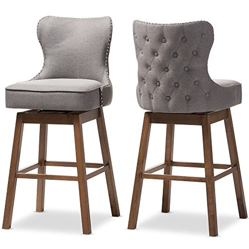 Baxton Studio 424-7073-AMZ Bar Stool 2-Piece Set, - Cambridge Stool Back Bar