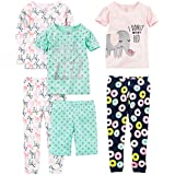 Simple Joys by Carter's Girls' Little Kid 6-Piece Snug Fit Cotton Pajama Set, Donuts/Zebra/Dots 8