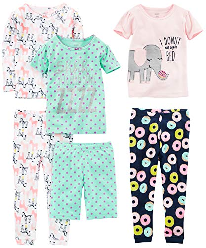 (Simple Joys by Carter's Girls' Little Kid 6-Piece Snug Fit Cotton Pajama Set, Donuts/Zebra/Dots,)