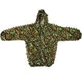 Langxun 3D Leaves Camo Suits Woodland Camouflage Clothing Army Sniper Military Clothes for Jungle Hunting, Shooting, Airsoft, Wildlife Photography, Halloween