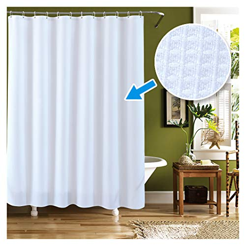 (LanMeng Elegance Luxury Bathroom Extra Long Fabric Shower Curtain, Waffle, White, Waterproof, 72-by-78 inches)