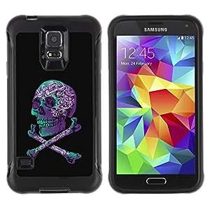Suave TPU GEL Carcasa Funda Silicona Blando Estuche Caso de protección (para) Samsung Galaxy S5 V / CECELL Phone case / / Purple Black Crossbones Teal Skull /