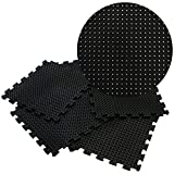 Rubber-Cal 'Eco-Drain' Interlocking Rubber Tiles - 5/8 x 20 x 20 inch - Pack of 4 Drainage tiles, 11 Square Feet Coverage - Black Rubber Mats