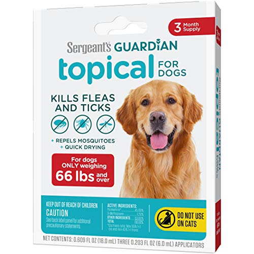 Sergeant's Guardian Flea & Tick Squeeze On Topical for Dogs, 66+ lbs, 3 Count
