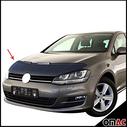 OMAC USA Front Hood Cover Mask Black Vinly Bonnet Bra (Half) Stoneguard Protector for VW GTI Golf MK7 2015-