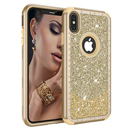 Diamond Case for iPhone Xs Max 6.5 Inch 2018, ZAOX 3 Layer Elegant Heavy Duty Defender Cute Glitter Bling Full Body Design Protective Case for Girls Women Hybrid Rugged Luxury Hard Cover (Yellow Gold)