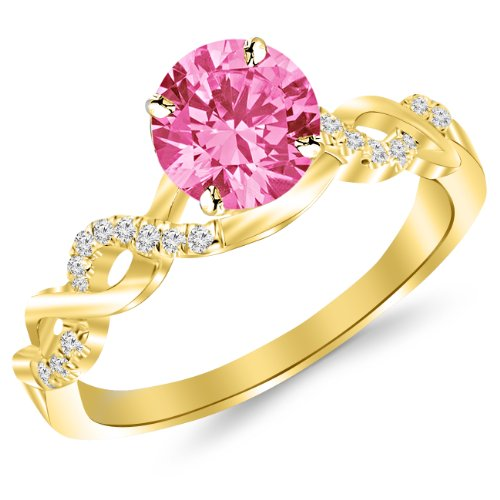 Pave Set Pink Diamonds - 14K Yellow Gold Twisting Infinity Gold and Diamond Split Shank Pave Set Diamond Engagement Ring with a 1 Carat Pink Sapphire Heirloom Quality Center