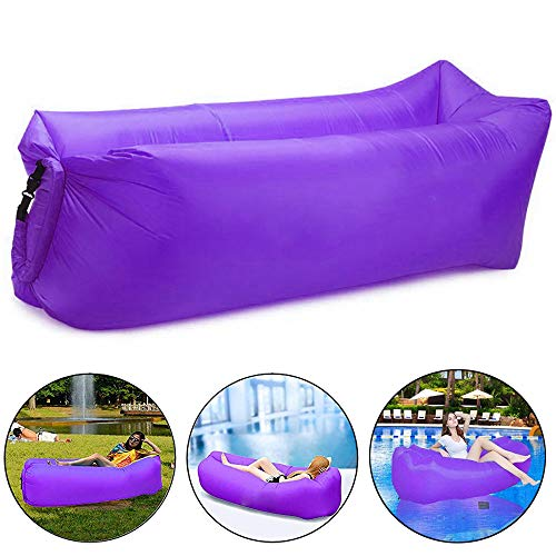 Bry Inflatable Lounger Air Chair Sofa Bed Sleeping Bag Couch for Beach Camping Lake Garden (Purple) from Beiruoyu