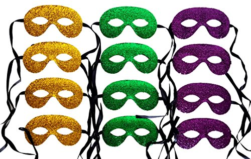 Glitter Mardi Gras Mask - Playscene 12 Mardi Gras Costume Masks for Adults and Children (Party Packs!) (Glitter Tie)