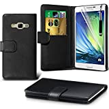 Fone-Case ( Black ) Samsung Galaxy A7 Case Brand New Luxury BookStyle PU Leather Wallet Flip With Credit / Debit Card Slot Case Skin Cover With LCD Screen Protector Guard, Polishing Cloth & Mini Retractable Stylus Pen