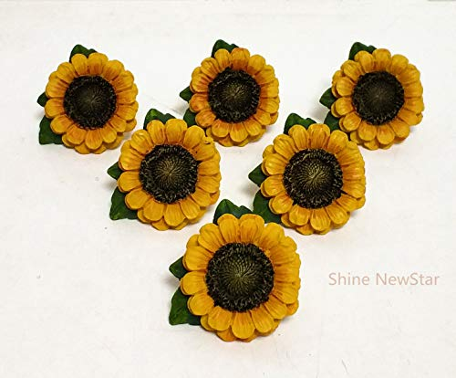 (SnS Sunflower Vintage Kitchen Resin Drawer Pulls Cabinet Knobs Handles Country Home Decoration (Pack of 6))