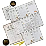 Baby Shower Games - Ultimate Gender Neutral Kit | Contains 8 Classic Games Like Baby Bingo and Baby Shower Advice Cards - 50 Sheets of Each | Complimentary Tummy Measure Game with Measuring Tape