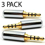 3 Pack - 3.5mm Replacement Jack Connector TRRS Stereo 4 Pole Male Plug
