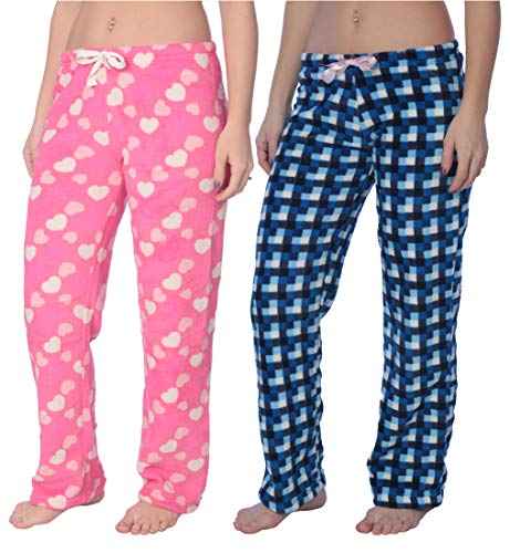 Hot Pink Checker - Active Club Fleece Lounge Plaid Pajama Pants for Women - Adjustable Waistband - 2 Pack (X-Large, 2 Pack Blue Checkers/Hot Pink Love)