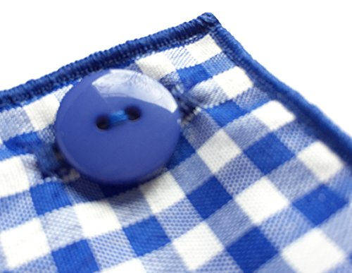 Blue & White Gingham Check w/ Blue Button Mens Pocket Square by The Detailed Male by The Detailed Male (Image #2)