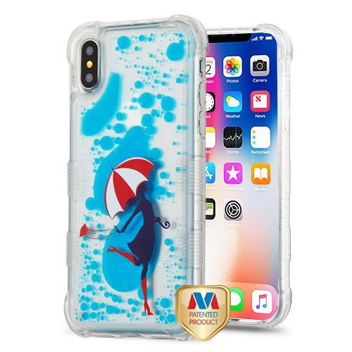 - MYBAT TUFF Hybrid Protector Cover Case Fits Apple iPhone X/10/Xs Romance in The Rain/Dance with White Red Umbrella/Skipping in Blue Oil AquaLava
