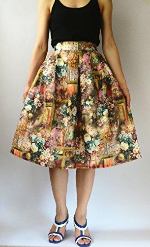 YSJ Women's High Waist A-Line Pleated Skater Skirt Landscape OL Midi Dress Brown
