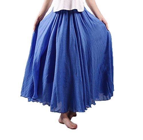 Jupon Taille de Coton avec et Lin Elonglin en Denim Bleu Elastique Longue Jupe Diverse Bohme Couleur Tour Plisse Femme qwAO7v