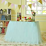 N&T NIETING Handmade Tutu Tulle Table Skirt Cover Improved for Girl Princess Birthday Party Baby Showers Weddings Holiday Parties Home Decoration, 47''-60'' Long 32'' High (Blue)