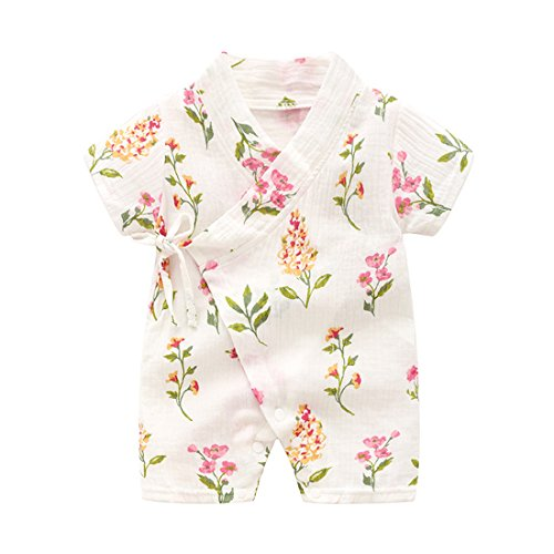 PAUBOLI Kimono Robe Newborn Cotton Yarn Robe Baby Romper Infant Japanese Pajamas (0-3 Months, Plants) -