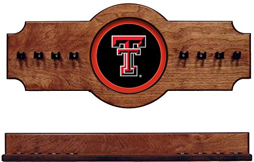(NCAA Texas Tech Red Raiders TXTCRR100-P 2 pc Hanging Wall Pool Cue Stick Holder Rack - Pecan)