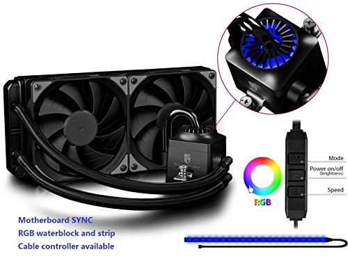 Control Captain (DEEPCOOL CAPTAIN 240EX RGB, Liquid CPU Cooler, Motherboard Sync, RGB Waterblock and Strip, Cable or Motherboard Control, 2×120mm PWM Fans, AM4 Compatible, 3-year Warranty)