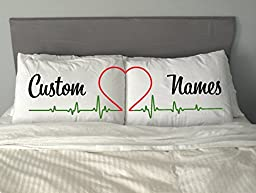 PERSONALISED HEART Cute Pillow Case Valentine Anniversary Gift His and Hers Him and Her