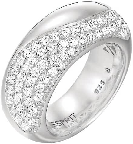 ESPRIT Women's Ring 925 Sterling Silver Rhodium Plated Crystal Zirconia Peritau White