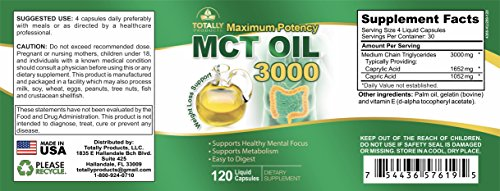 Maximum Potency 100% Pure MCT Oil Capsules 3000 mg I For Improved Energy and Brain Function I 120 Cold Pressed Softgels - Includes Bonus Keto Diet eBook by Totally Natural Remedies (Image #5)