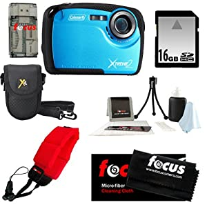 Coleman C12WP 16MP/HD Waterproof Camera (Blue) + 16GB SD HC Memory Card + Focus Universal Memory Card Reader + Accessory Kit