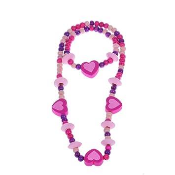 5  x Schmuckset aus Holzperlen Armband und Halskette Mitgebsel Kindergeburtstag