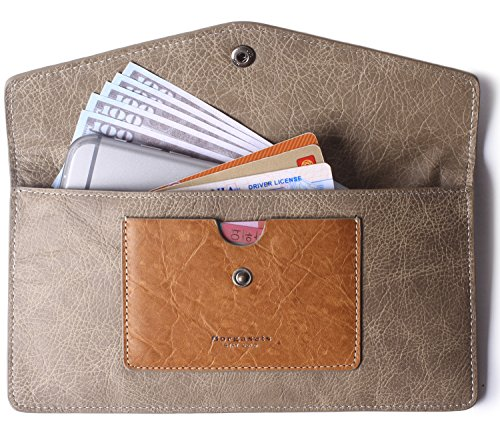 (Borgasets Women's Wallet Leather RFID Blocking Ultra-thin Envelope Ladies Purse Travel Clutch with ID Card Holder and Phone Pocket Vintage Gray)