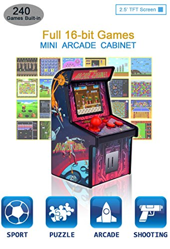 IWAWA Mini Retro Arcade Cabinet with 240 Video Games for Kids Travel Portable Handheld Gaming System Console - System Machine Arcade Game