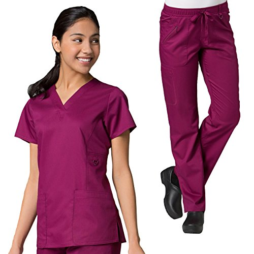 (Maevn Eon Women's Active V-Neck Pocket Scrub Top & Full Elastic Zipper Pocket Cargo Scrub Pant Set)