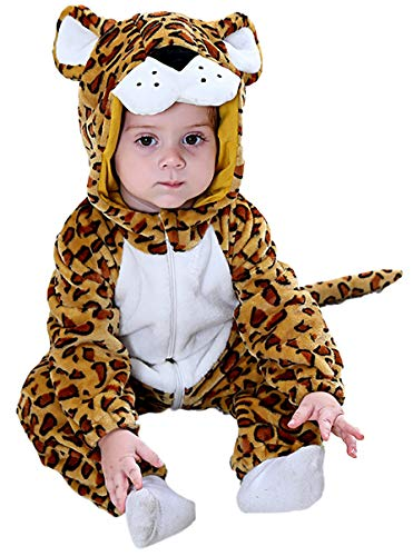 COSLAND Infant Baby Boys' Leopard Flannel Animal Costume Creeper Outfit (Leopard, 3-6 -