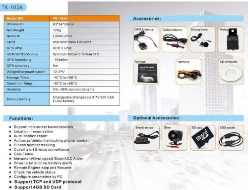 DUAL SIM GPS TRACKER TK-103A ORIGINAL SPY GSM VEHÍCULO ROBO DE ALARMA: Amazon.es: Electrónica
