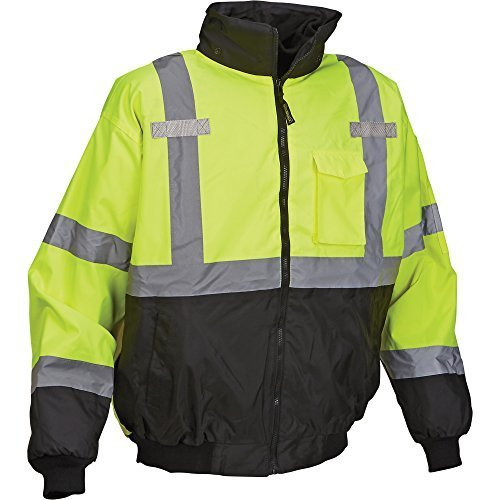 (OccuNomix LUX-ETJBJR-BY5X High Visibility 3-in-1 Fleece Lined Black Bottom Bomber Jacket with Roll-Away Hood, Removable Lining and 6 Pockets, Class 3, 100% ANSI Polyester, 5X-Large, Yellow)