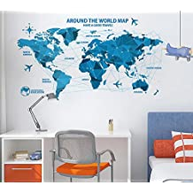 Ikeelife® Home Decorative Mural Origami Map Around The World Map Slogan Wall Sticker Livingroom Bedroom Study Entrance Wall Art Decal Paper Blue 60*90cm / 23.64*35.46""