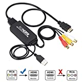 RCA to HDMI Converter, RCA to HDMI Cable, AV 3RCA CVBS Composite Audio Video to 1080P HDMI Adapter Supporting PAL NTSC for PC Laptop Xbox PS3 PS4 TV STB VHS VCR Camera DVD (Female to Male)