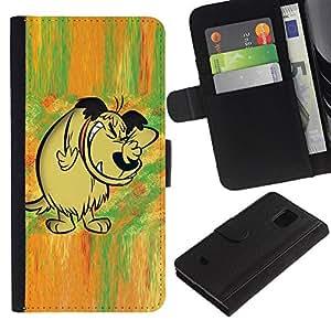 Paccase / Billetera de Cuero Caso del tirón Titular de la tarjeta Carcasa Funda para - Dog Drawing Cartoon Comic Forest Fairytale - Samsung Galaxy S5 Mini, SM-G800, NOT S5 REGULAR!