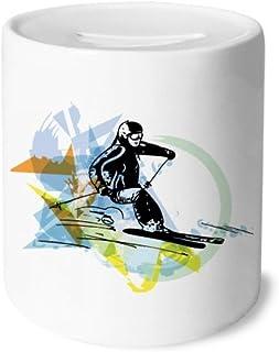 DIYthinker Gli Atleti di Sport Invernali Freestyle Acquerello Salvadanaio Casse di Risparmio in Ceramica della Moneta di Caso per Bambini Adulti