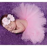 Cute Newborn Toddler Baby Girl Tutu Skirt & Headband Photo Prop Costume Outfit (Pink 1)