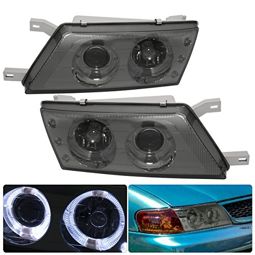 Fits Nissan Sentra/200SX Smoked Lens Projector Dual Halo LED DRL Headlights Lamps Set -
