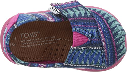TOMS Kids Baby Girl's Seasonal Classics (Infant/Toddler/Little Kid) Cobalt Tribal Woven Loafer