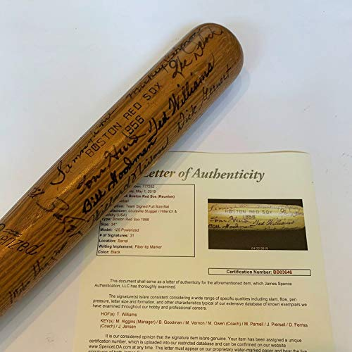 Beautiful 1956 Boston Red Sox Team Signed Bat Ted Williams 31 Sigs With JSA - Ted Figurine Williams