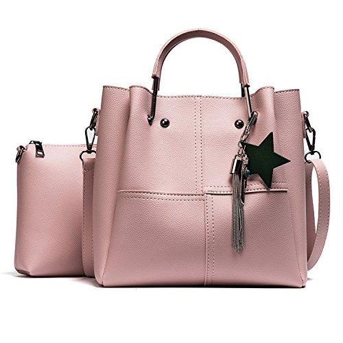 Meoaeo Europeos Y Americanos Bolsos De Moda Bolsa De Cuero Nuevo All-Match Bolsa Portátil Negro Pink