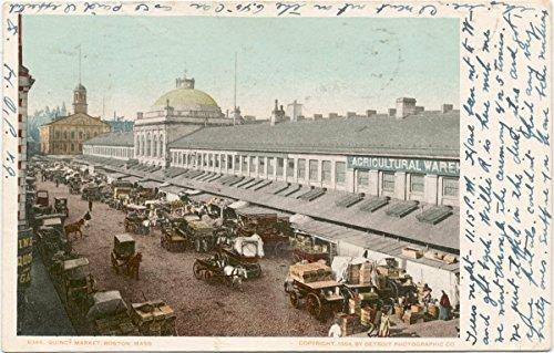 Historic Pictoric Postcard Print | Quincy Market, Boston, Mass, 1898 | Vintage Fine Art