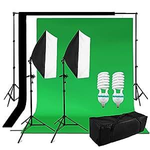 1250W Softbox iluminación fotografía, kit fondo 1.8x2.8m 100% algodón muselina(Negro Verde Blanco) - 50x70cm softbox + 4 trípodes, kit iluminación continua para vidéo, televisión y fotografía casero