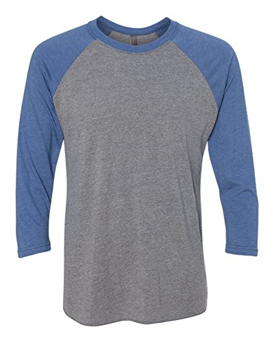 Next Level Apparel 6051 Unisex Tri-Blend 3 By 4 Sleeve Raglan - Vintage Royal & Premium Heather, Extra Large